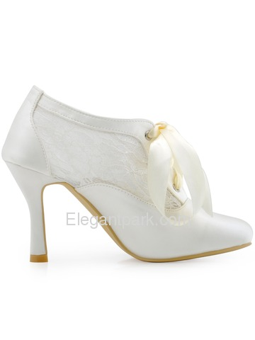 ElegantPark Women's White Ivory Closed Toe Pumps Ribbon Tie Wedding Party Shoes (HC1529)
