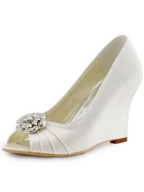 ElegantPark Ivory Women Peep Toe Detachable Flower Rhinestones Wedges Satin Wedding Bridal Shoes