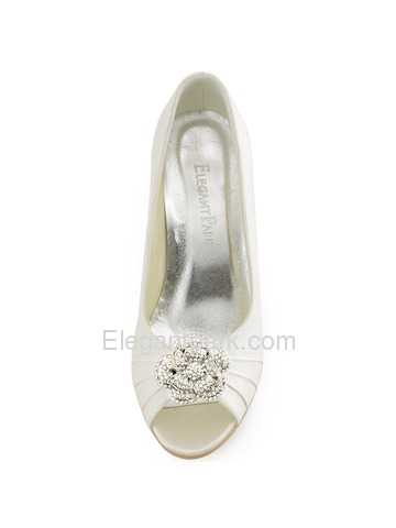 ElegantPark Ivory Women Peep Toe Detachable Flower Rhinestones Wedges Satin Wedding Bridal Shoes (WP1547)