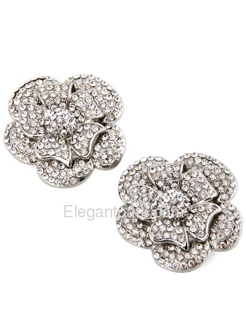 ElegantPark New Flower Silver Rhinestones Silver Wedding Party Shoe Clips Two Pieces Including