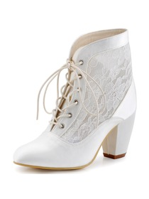 ElegantPark Women Ankle Boots White ivory Chuck Heel Lace-up Round Toe Lace Wedding Bridal Shoes