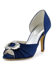 Elegantpark Women Navy Blue Peep Toe Pump Stiletto Heel Satin Wedding Bridal Shoes