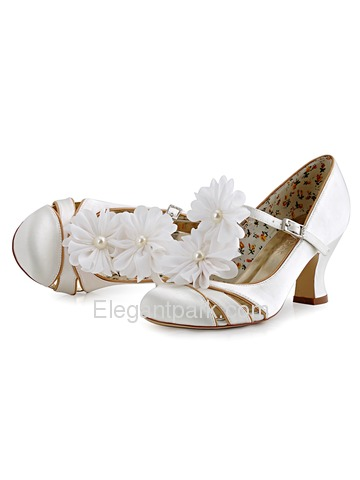 ElegantPark AI01D White Wedding Accessories Women Bridal Shoes Flower Shoe Clips Two Pairs