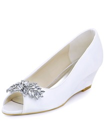 ElegantPark Women Peep Toe Mid Wedges Heels White Ivory Rhinestones Wedding Bridal Shoes
