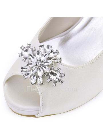 ElegantPark Women White Ivory Peep Toe High Heel Platform AK Removable Clips Wedding Bridal Pumps (HP1543IAK)