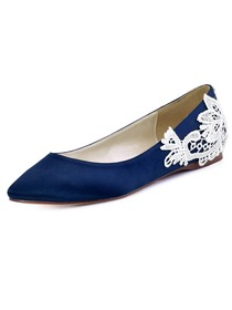 ElegantPark Women's Flats Pointed Toe Comfortable Heels Appliques Satin Wedding Bridal Shoes