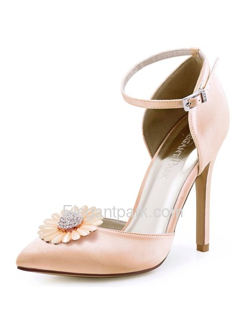 ElegantPark Women Blush Pointed Toe Ankle strap High Heel Daisy Clips Wedding Prom Dress Shoes Pumps (HC1602AN)