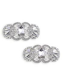 EletantPark Antique Silver Women Wedding Dress Accessories Rhinestones Pearls Hat Shoe Clips 2 Pcs