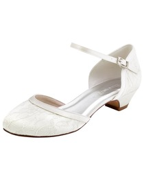 ElegantPark HC1620 White Ivory Lace Closed Toe Low Heels Strap Wedding Party Shoes