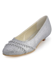 ElegantPark Shiny Glitter PU Pointy Toes Low Kitten Heel Party Shoes