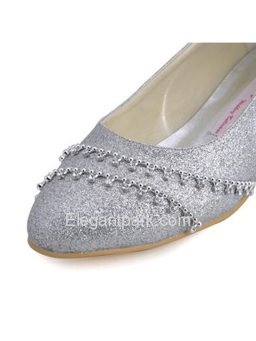 ElegantPark Shiny Glitter PU Pointy Toes Low Kitten Heel Party Shoes (B129A)