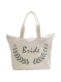 ElegantPark Bride Wedding Canvas Tote Bag Travel Zip Interior Pocket 100% Cotton