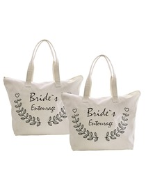 ElegantPark Bride's Entourage Wedding Canvas Tote Bag Travel Zip Interior Pocket 100% Cotton 2 Packs