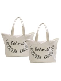 ElegantPark Bridesmaid Wedding Canvas Tote Bag Travel Zip Interior Pocket 100% Cotton 2 Packs