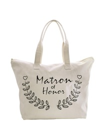 ElegantPark Matron of Honor Wedding Canvas Tote Bag Travel Zip Interior Pocket 100% Cotton
