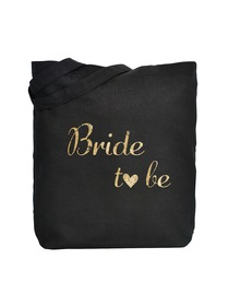 ElegantPark Bride to Be Wedding Tote Bag Black Canvas Gold Script 100% Cotton