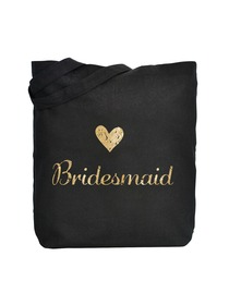 ElegantPark Bridesmaid Wedding Tote Bag Black Canvas Gold Script 100% Cotton 1 Pack