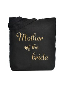 ElegantPark Mother of Bride Tote Bag Black Canvas Gold Script 100% Cotton 1 Pack