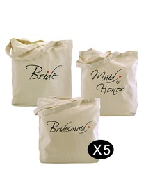 Women Wedding Bride to Be Bridal Shower Bachelorette Gifts Tote Bags Set for Canvas 100% Cotton