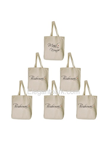 Women's Wedding Gift Bridesmaid Tote Bag, Maid of Honor Tote bag Set Canvas 100% Cotton