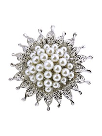 BP1701 Women Fashion Jewelry Beautiful Sun Flower Design Pearls Crystal Brooch Pin Silver