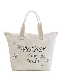 ElegantPark Mother of Bride Wedding Canvas Tote Bag Travel Daisy Zip Interior Pocket 100% Cotton 1 P