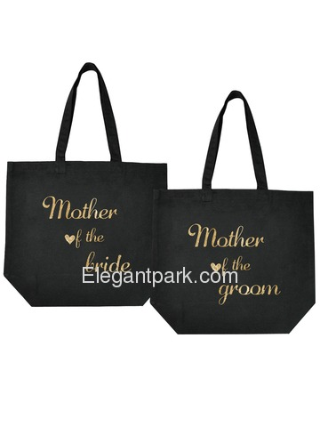 Mother of the Bride + Groom Tote Bag Wedding Gifts Black 100% Cotton with Gold Script 2 Pcs