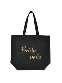 ElegantPark Bride to Be Tote Bag for Wedding Bridal Gifts Black 100% Cotton with Gold Script