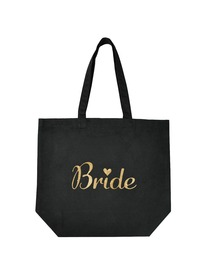 ElegantPark Bride Tote Bag for Wedding Bridal Shower Gifts Black 100% Cotton with Gold Script