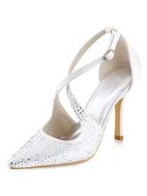 WEDOPUS HC1513 Women's Pointed Toe High Heel D'Orsay Strap Rhinestone Buckles Satin Pumps Shoes