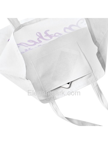 Bridesmaid Tote Bag Wedding Gifts Canvas 100% Cotton Interior Pocket White with Hot Pink Script