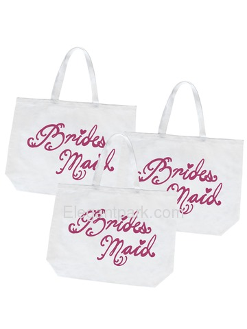 Bridesmaid Tote Bag Wedding Gifts Canvas 100% Cotton Interior Pocket White with Hot Pink Script 3 Pc