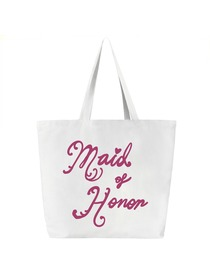 Maid of Honor Tote Bag for Bridesmaid Wedding Gifts Canvas 100% Cotton White with Hot Pink Script