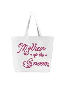 Mother of the Groom Tote Bag for Wedding Gifts Canvas 100% Cotton White with Hot Pink Script