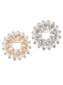 BP1709 Fashion Rhinestones Double Pearls Flowers Crystals Women Jewelry Brooch Pin