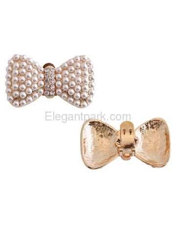 CE Women 2 Pcs Shoe Clips Pearl Bow Diamante Rhinestones Wedding Evening Prom Party Decoration Gift