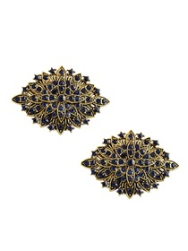 CG Women 2 Pcs Shoe Clips Antique Gold Leaf Design Rhinestones Wedding Party Decoration Gift