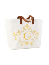 ElegantPark G-Initial 100% Jute Tote Bag with Handle and Interior Pocket