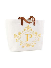 ElegantPark P-Initial 100% Jute Tote Bag with Handle and Interior Pocket