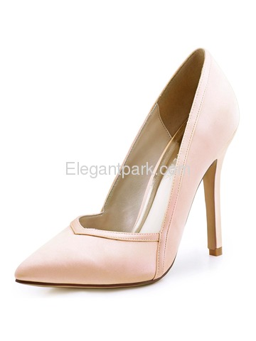 ElegantPark Champagne Pointed Toe High Heels Woman Pumps Satin Evening Wedding Shoes (HC1603)