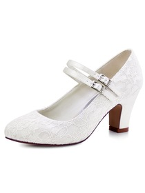 ElegantPark Ivory Round Toes Mary Jane High Heels Pumps Lace Wedding Bridal Shoes