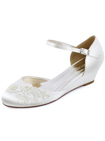 WP1716 Mid Heel Pumps Closed Toe Ankle Strap Satin Evening Prom Wedding Wedges
