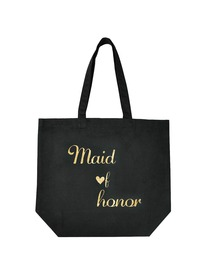 ElegantPark Maid of Honor Wedding Tote Bag Black Canvas Gold Script 100% Cotton