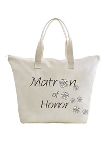 ElegantPark Matron of Honor Wedding Canvas Tote Bag Travel Daisy Zip Interior Pocket 100% Cotton