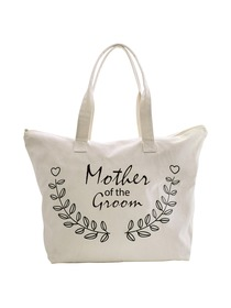 ElegantPark Mother of Groom Wedding Canvas Tote Bag Travel Zip Interior Pocket 100% Cotton 1 Pack