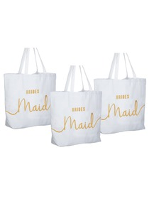 Bridesmaid Tote Bag Wedding Gifts Canvas 100% Cotton Interior Pocket White with Gold Glitter 3 Pcs