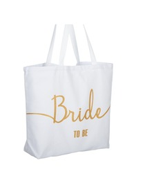 Bride to Be Tote Bag Wedding Bridal Shower Gifts Canvas 100% Cotton White with Gold Glitter