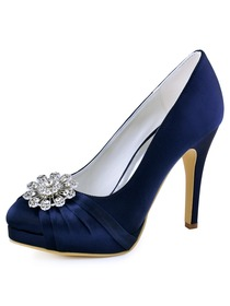 EP2015-PF-NW Women High Heel Platform Pumps Closed Toe Buckle Satin Bridal Wedding Shoes