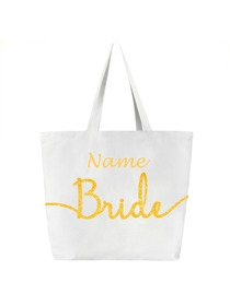 Personalized Wedding Bride Tote Bag With Custom Name Design Canvas Gift Bag 100% Cotton White
