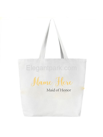Monogrammed Wedding Canvas Tote Bag Personalized Name and Custom Role 100% Cotton White Gift Bag